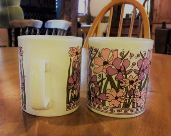 Pair Retro 1970s Staffordshire Mugs Pink & Lilac Floral