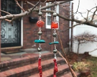 Coral - Pyrite - Chrysocolla - Carnelian Wire Wrapped Earrings