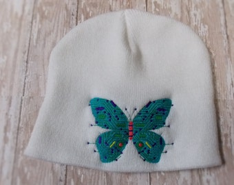 Circuit board butterfly beanie hat, embroidered tech skull cap, gamer chick, IT gift, computer geek gifts, geekery, IT grad, cyber punk