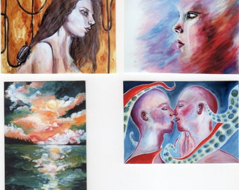 Set of 4 ACEO PRINTS 2.5 x 3.5 inches of Original Portrait and Landscape Paintings With Fridge Magnet Strips