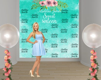 Sweet 16 Watercolor Personalize Photo Backdrop - Boho Birthday Party Photo Backdrop- Custom Party Photo Backdrop