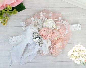 Queen Beatrice Headband - Wedding Headband - Flower Girl Headband - Pink and White Headband - Girls Headband - Couture Headband -Photo Props