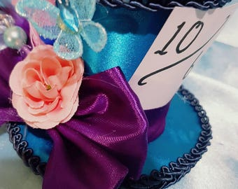Mad Hatter  turquoise Top Hat Fascinator