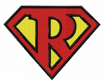 Superman Letter R...Instant Download...Pattern Fill Machine Embroidery DESIGN NO . 818