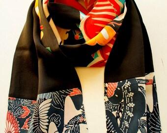 Japanese silk kimono hand made scarf made from antique kimono fabrics**S56**