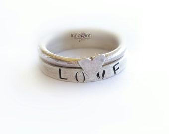 Silver Stack Rings Stacking Rings Love Ring Set Heart Ring Set Of Two Stacking Rings Hand Stamped Ring