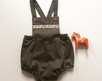 Baby Rompers/ Organic brown and grey plaid, Ferns in Red, Pink & Blue Plaid