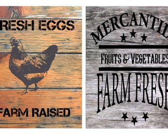 Country Farm Prints - Wall Art - Fresh Eggs - Mercantile - Farm Fresh