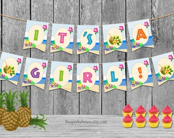 Hawaiian Summer It's A Girl Bunting / Tropical Beach Theme Decor / Baby Shower Party Banner / Printable PDF DIY Banner / Instant Download