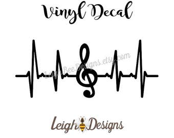 Music Vinyl Heartbeat Decal, Decal, Yeti Decal, Window Decal, Decals, Tumbler Decal, Car Decal, Laptop Decal, Vinyl Decal, Vinyl Sticker