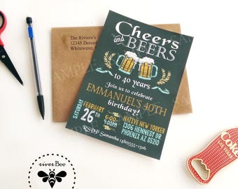 Cheers and Beers Party Invitations with Coordinating Envelopes / Adult Birthday Invitations with Envelopes / Over the Hill Party