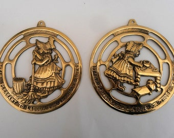 Vintage Brass Plaques.Its pleasant to labour for Those We love.Brass Wall Plaque. Pack 2