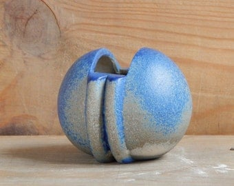 Soviet Vintage Ceramic Vase Blue Beige Vase Vulva Vase Made in USSR Soviet Estonia by ARS