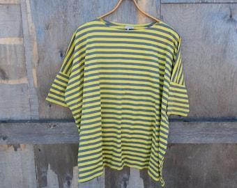 Marimekko Tunic T- shirt Yellow and Gray Striped Pattern Ladies short sleeve ovesize T- shirt Size Medium
