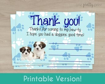 Blue Puppy Party Thank You Cards - Printable Instant Download!