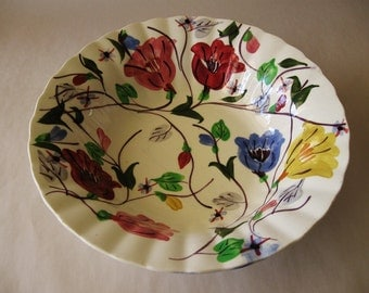 CHINTZ SERVING BOWL Blue Ridge Southern Potteries Hand Painted U.S.A. Floral 3090 Large