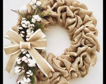 Cotton Inspired Burlap Wreath. Cotton Wreath. Burlap Wreath. Cotton Accented Burlap Wreath.