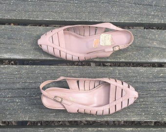Sandals- Size 6 Mauve Leather Strappy Wedge Heel Made in Brazil Fancy Bugs Womens
