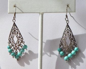 Vintage MS Sterling Silver 925 Filigree Turquoise Bead Dangle Hook Earrings