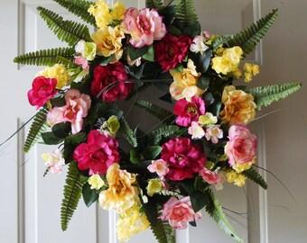 Roses Wreath, Spring Wreath, Summer Wreath, Grapevine Wreath, Front Door Wreath