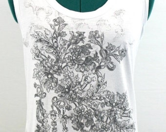 White Sleeveless Top with gray floral design with silver flecks. By Express. Pretty top, summer top, sweet top, light top
