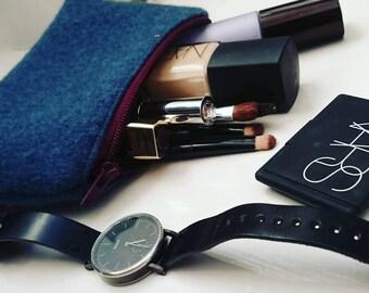 Mohair Ladies Cosmetic Bag. Vanity Bag. Wool Purse (Blue).