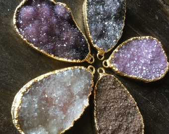 Very Large Druzy Statement Pendants (READ DESCRIPTION below before purchasing!!!)- 22k gold- plated electroform 60x40mm Drusy #1303
