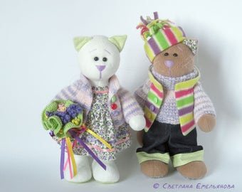 Soft Toy Cats Lavender Mood