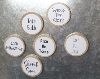 30 Custom Chore Magnets/  2 Inches / Text Only / Children's Chore Magnets / Magnetic Chore Chart System / Family Command Center