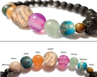 Space Bracelet Diffuser- Spacelet - Solar System Planets and Lava Rock -Planet Bracelet - Valenwood Vixen - Ready to Ship