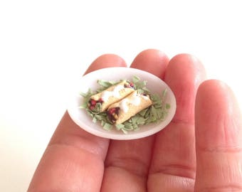 Miniature enchiladas, handmade, 1:12 (one in) scale, miniature food, dollhouse food