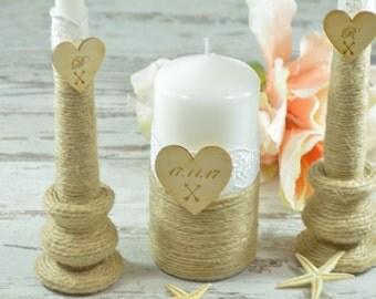 Wedding Unity Candle Set Rustic Unity Candle Set White Lace Wedding Church Ceremony Personalized  Candles