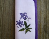 Cross stitch spectacle case on mauve evenweave and purple fabric lining - Royal Bluebell.
