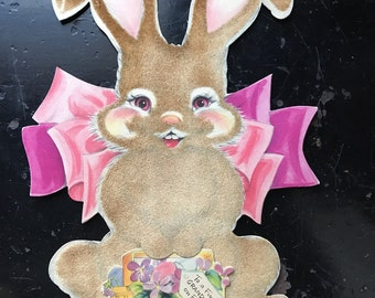 1940's Hallmark Flocked Easter Bunny Card Large