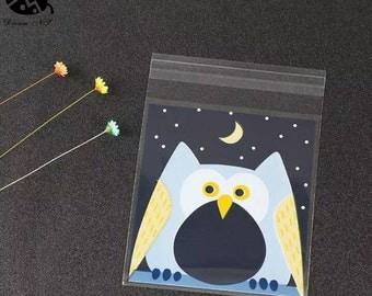 12 Owl Self Adhesive Cellophane Bags 10 x 11cm