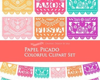 30% off 6 Colors Papel Picado / Fiesta Bunting / Colorful FIESTA Papel Picado Clip Art Set - Instant  Download