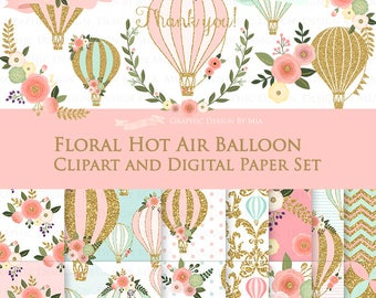 20% off Floral Hot Air Balloon / Gold Hot Air Balloon Clip Art + Digital Paper Set - Instant Download