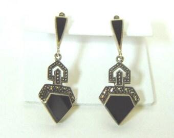 Pr of Vintage Estate .925 Sterling Silver & Black Onyx Dangle Earrings 5.3g E3057