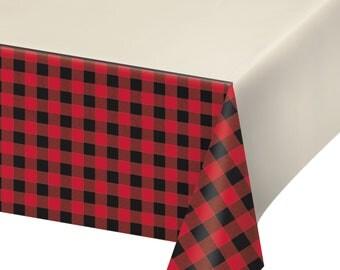 Buffalo Plaid  party Tablecloth  /Lumberjack party/ Lumberjack / woodland party/ lumber party// buffalo plaid