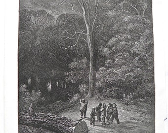 Hop O' My Thumb by Gustave Dore Antique Print C. 1880 Fairy story (225)