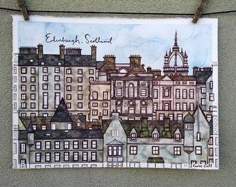 EDINBURGH SCOTLAND Original 11.25x15.25 Ink and Watercolor Painting
