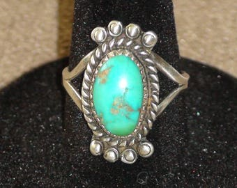 Native Navajo Sterling Silver Turquoise Ring Size 7.5 Ben Duboise Rare