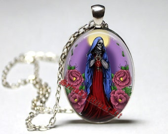 Santa Muerte pendant, day of the dead necklace, ritual altar jewelry, occult medallion, saint death, skull art, morte #435.2