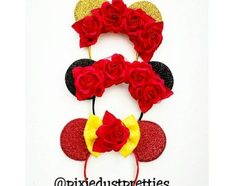 Belle Mouse Ears, minnie mouse, mouse, belle bow, belle, beauty, beauty and the beast, beauty bow, roses, princess mouse ears, minnie