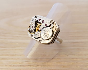 Watch Movement Ring, Steampunk Ring, Cyberpunk ring, Gift for her, recycled watch parts, anniversary gift, womens gift, birthday gift
