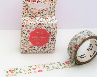 Washi Tape - Single Roll Set - Lilac Floral Design - 15mm x 7 metres - Flower Berries Leaves - White Background - Journal Adhesive Tape
