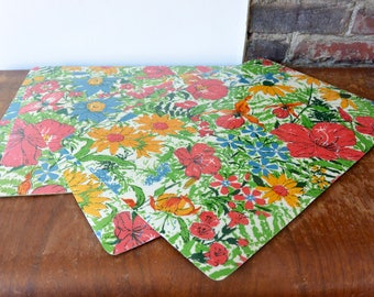 Bright Floral Vinyl Placemats - Set of 4