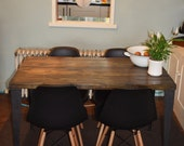 Rustic Handmade Industrial Kitchen Table Iron Legs 4 x black chairs