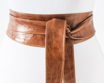 Tan Brown Croc effect Obi Belt Leather Croc finish  | Leather corset belt | Real Tan Leather Belt| waist Belt | Petit to Plus Size