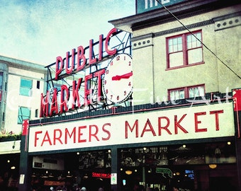 Pike Place Market Photo, Seattle photography, farmers market, travel photography, Pike Place, Seattle, architectural photography, green, red